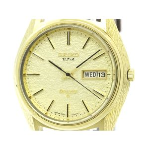 SEIKO V.F.A Day Date 18K Gold Quartz Mens Watch 3823-7030