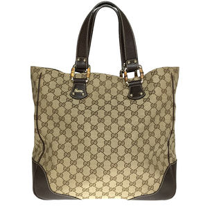 d258e6ca7397 Gucci GG Canvas 154375 Leather Tote Bag Beige,Brown