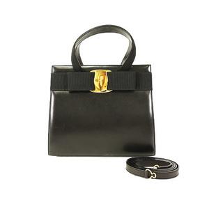 Auth Salvatore Ferragamo 2way Hand / Shoulder Bag Vara Blaack Women's