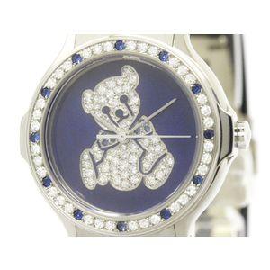 HUBLOT ウブロ MDM ミュージアム テディベア 限定 ダイヤモンド サファイア K18 ホワイトゴールド ラバー クォーツ レディース 時計