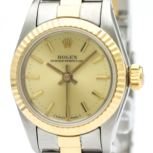 ロレックス(Rolex) オイスター・パーペチュアル 自動巻き ステンレススチール(SS),K18イエローゴールド(K18YG) レディース ドレスウォッチ 67193