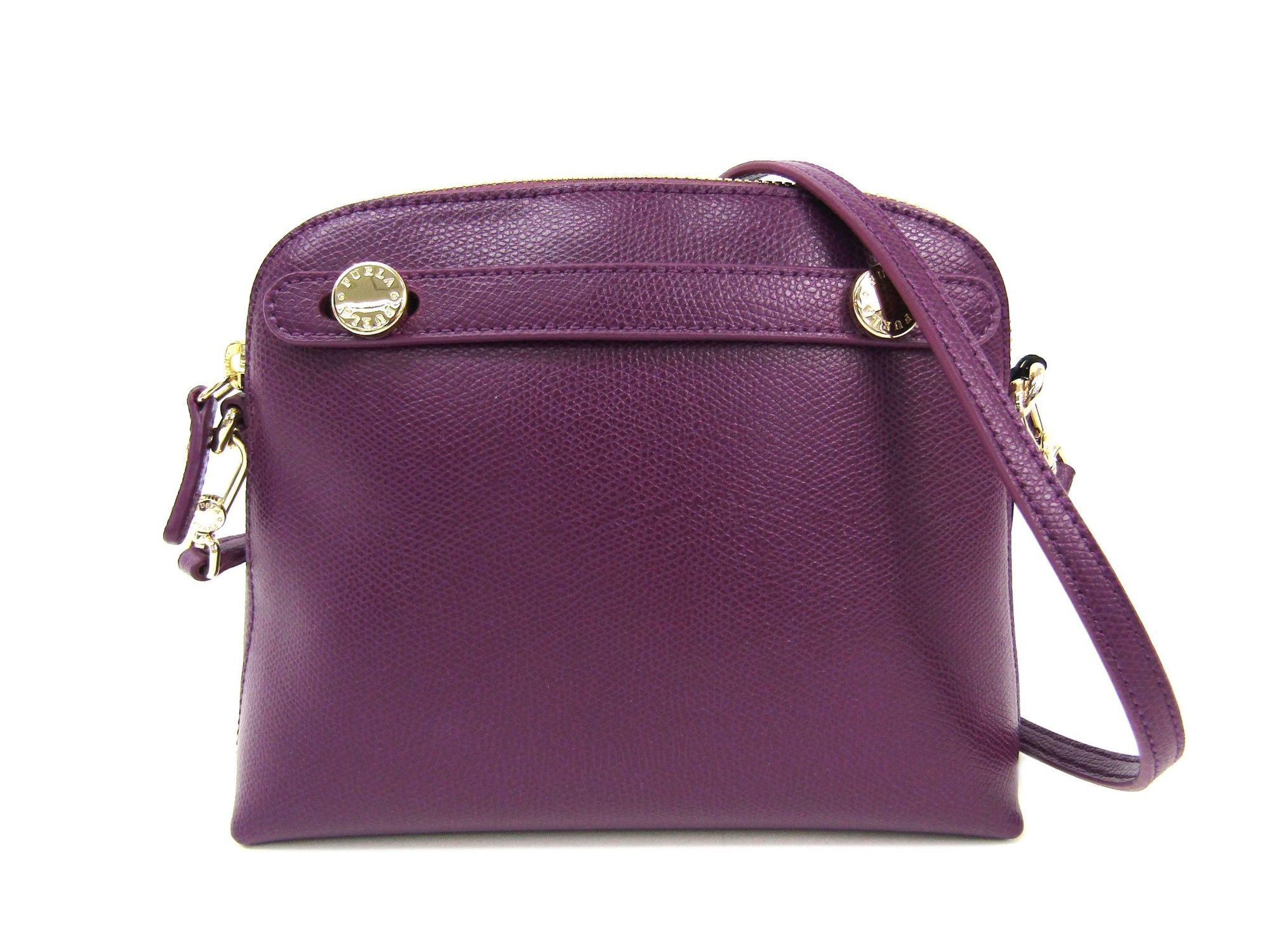 Auth Furla Piper Mini Crossbody Shoulder Bag Leather Aubergine Metropolis Authentic Image Is Loading