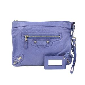 Auth BALENCIAGA Giant Clutch Bag Calfskin Leather Purple 299213 (BF305605)