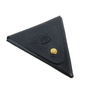 Auth IL BISONTE Coin Case Leather Dark Navy (BF305586)
