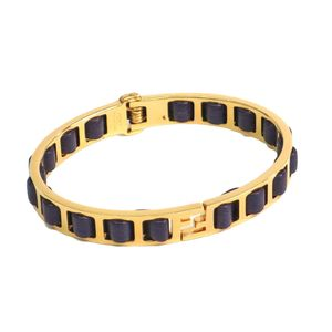 Auth FENDI FF Bracelet Metal/Leather Gold/Purple M 8AG132 (BF305498)