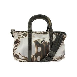 Auth Prada 2way Bag Handbag Shoulder Bag Black Silver