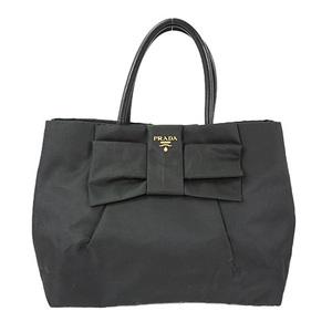 Auth Prada Ribbon Tote Bag Nylon Black