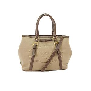 Auth Prada 2way Handbag BN1841 Jacquard Beige Brown Shoulder Bag
