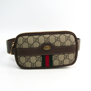 Gucci Ophidia Belted Iphone Case 519308 Women's GG Supreme,Leather/Webbing Fanny Pack Beige,Brown