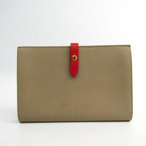 セリーヌ(Celine) ストラップ ラージ マルチファンクション 104873 レディース  カーフスキン 長財布(二つ折り) レッド,ベージュ