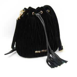 ミュウ・ミュウ(Miu Miu) マトラッセ バケットバッグ 5BE014 レディース ベルベット,レザー ショルダーバッグ ブラック