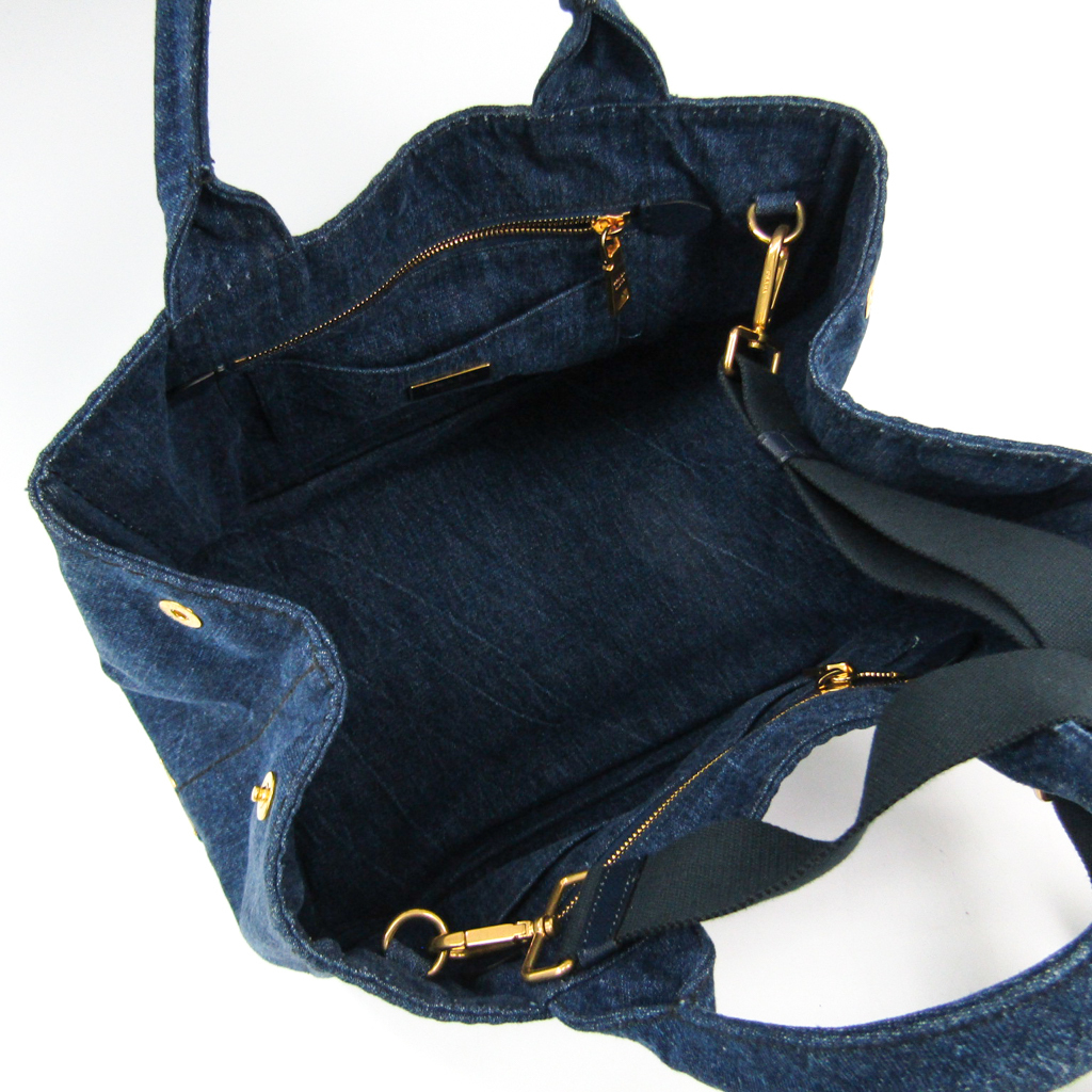 99af7ce9e Prada Canapa Women's Denim Tote Bag Navy BF332368 | eBay