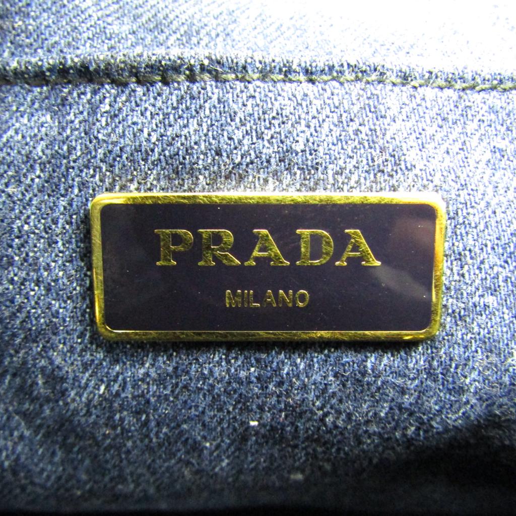 7a402585c Prada Canapa Women's Denim Tote Bag Navy BF332368 | eBay
