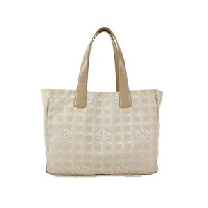 Auth Chanel New Travel Line Tote Bag MM Beige