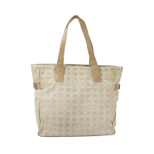 Auth Chanel New Travel Line Tote Bag Beige
