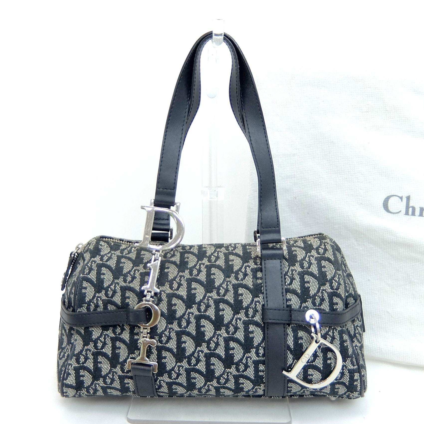 f1f757c85f0 Auth Christian Dior Trotter Women's Canvas,Leather Boston Bag,Handbag Navy