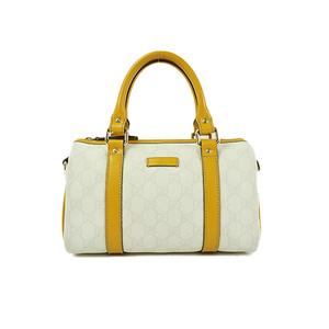 Auth Gucci GG Plus Mini Boston Mini Boston 193604 PVC Bag White,Yellow
