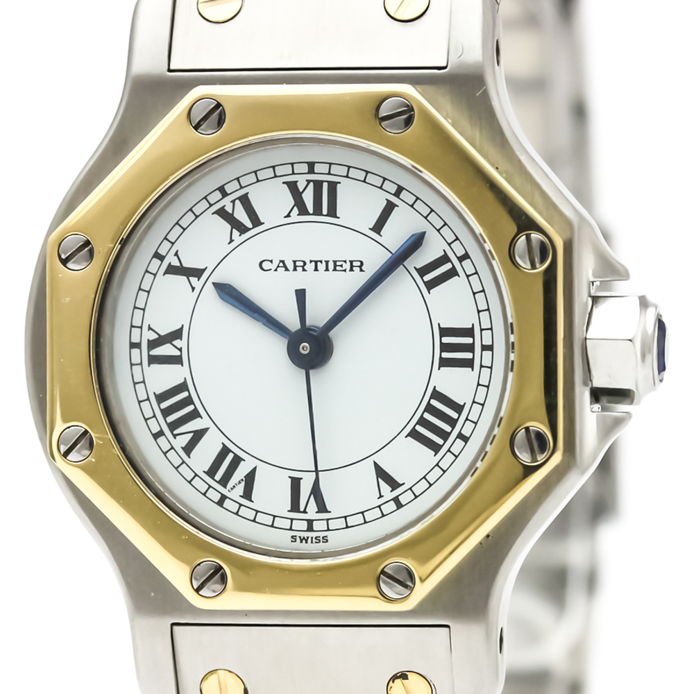 CARTIER Santos Octagon 18K Gold Steel Automatic Ladies Watch