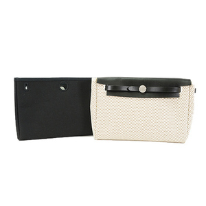 Auth Hermes Her Bag Clutch Bag Canvas Black
