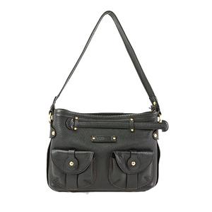 Auth Salvatore Ferragamo Shoulder Bag Leather Black Women's