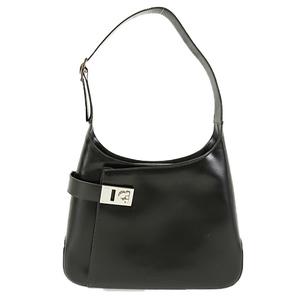 Auth Salvatore Ferragamo One-Shoulder Bag Calf Gancini AQ-21 0169 Black