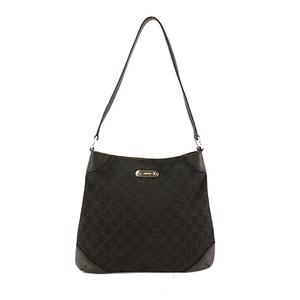 Auth Gucci Shoulder Bag GG Canvas 196140 black