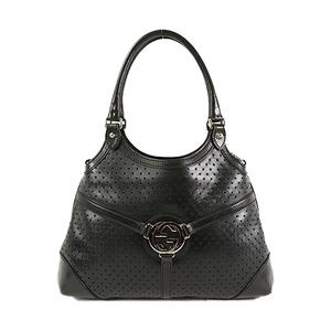 Auth Gucci Punching Shoulder Bag 114875 Black