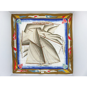 エルメス(Hermes) シルク スカーフ ブルー,ブロンズ,ホワイト