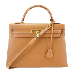 Auth Hermes Handbag  Courchevel Kelly 32 □A Brown