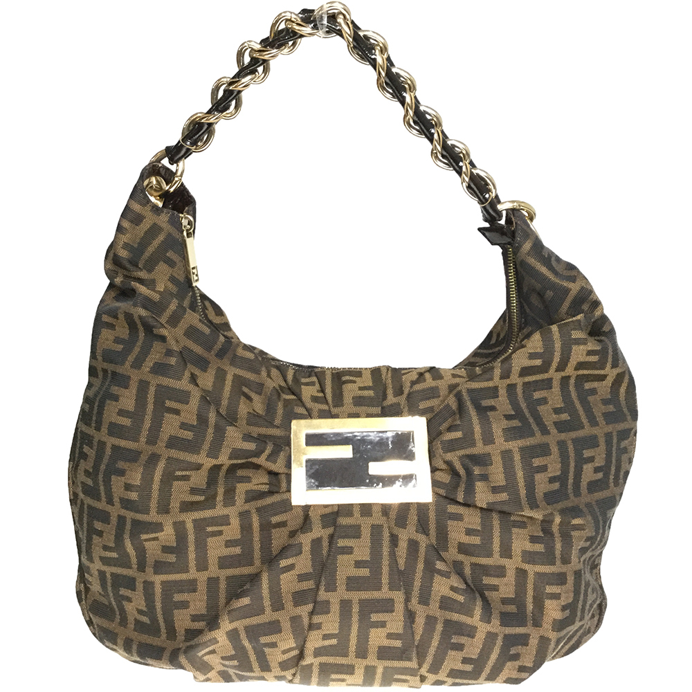 Fendi Zucca 8BR631 Women's Canvas,Leather Shoulder Bag Brown