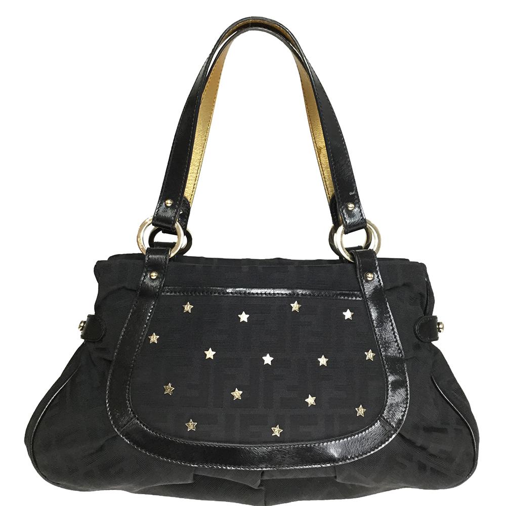 Fendi Zucca 8BR628 DXN Women's Canvas,Leather Shoulder Bag Black