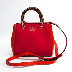 Gucci Bamboo Mini Shopper 368823 Women's Leather Handbag Orange,Pink