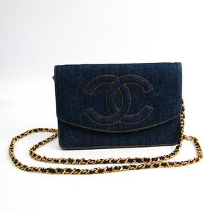 シャネル(Chanel) A08116 レディース デニム チェーン/ショルダーウォレット ネイビー