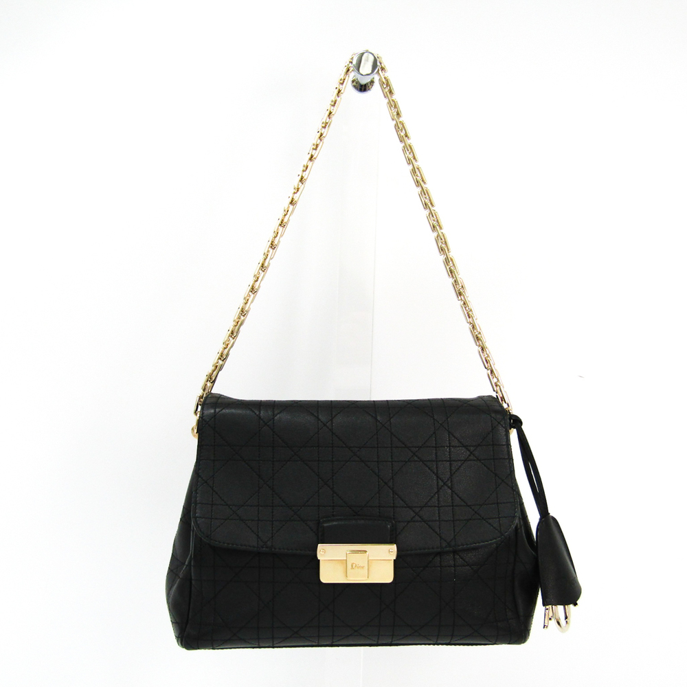 クリスチャン・ディオール(Christian Dior) カナージュ/レディ・ディオール レディース レザー ショルダーバッグ ブラック