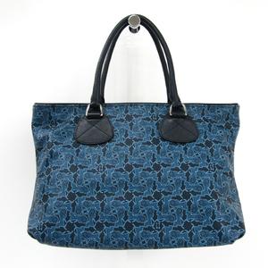 Celine Tourbillon Women's PVC,Leather Handbag Navy