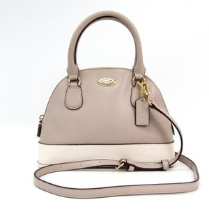 Coach F34517 Women's Leather Handbag Gray,White