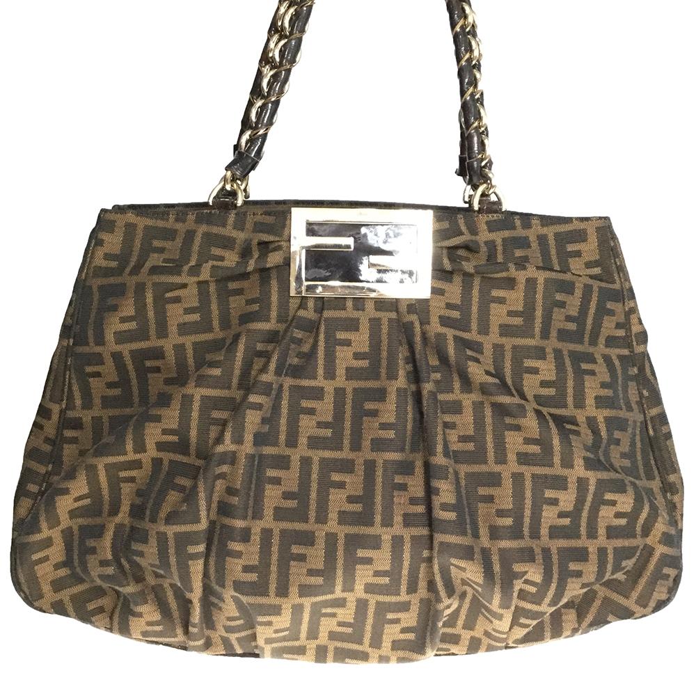 Fendi Zucca 8BR616 Canvas,Patent Leather Tote Bag Brown