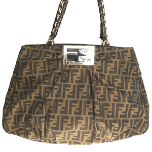 Fendi Zucca 8BR616 Canvas,Patent Leather Tote Bag Brown