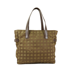 Auth Chanel Tote bag New Travel Line A15825 Nylon Jacquard Leather Khaki