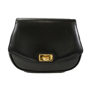 Auth Salvatore Ferragamo Shoulder Bag Gancini Black