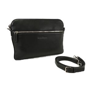 Auth Salvatore Ferragamo Leather Shoulder Bag Black