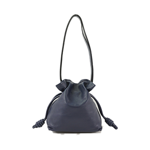 Auth Loewe Flamenco Leather Shoulder Bag Navy