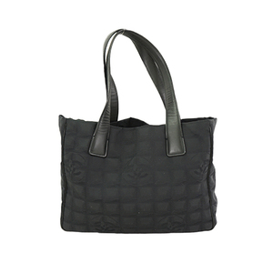 Auth Chanel New Travel Line Tote Bag PM Nylon Black 56c53e2e63f6f