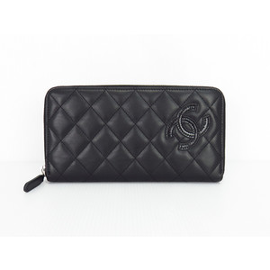 Chanel A80213 Women's  Lambskin Long Wallet (bi-fold) Black