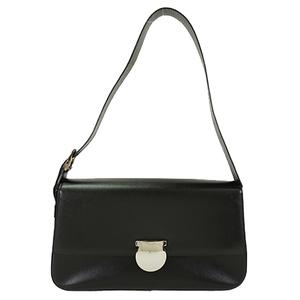 Auth Salvatore Ferragamo Shoulder Bag Leather Black