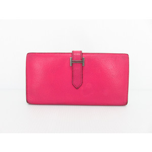 Hermes (Hermes) Bearn Chevre Long Wallet (Foldable) Pink Bearnsfure Purse Bearn Leather L Engraved Wallet Purse
