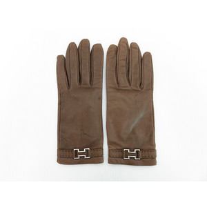 Hermes Gloves 7 1/2 Women's Gloves Brown Leather
