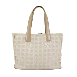 Auth Chanel Tote bag New Travel Line Nylon Jacquard Leather Beige