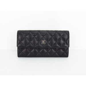 Chanel A50096 Women's  Caviar Leather Long Wallet (bi-fold) Black