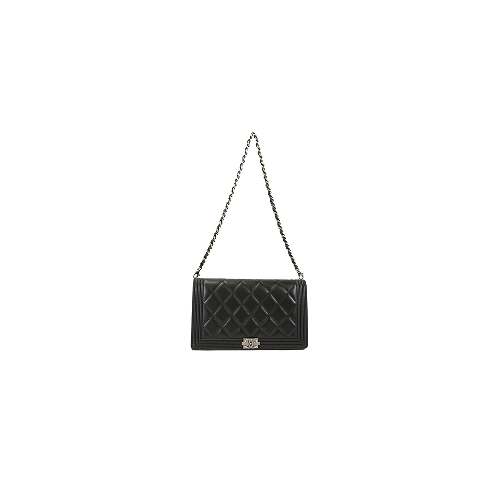3e84a3d7d82471 Auth Chanel Boy Chanel Chain Wallet Leather Black